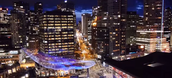 Downtown Vancouvers real-time interactive sculpture