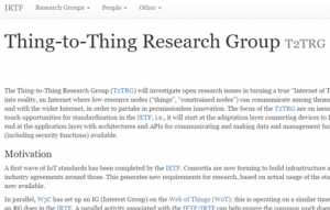 IRTF Thing-to-Thing Research Group (T2TRG)