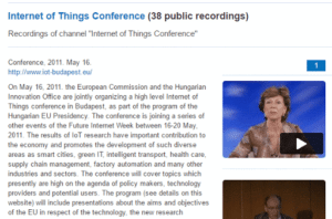 Videos from the IOT 2011 Budapest Conference